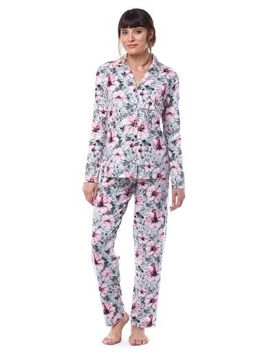 Pamuk & Pamuk Kadın Büyük Çiçek Desenli Gömlek Pijama Takımı Yeşil
